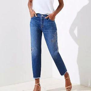 LOFT Embroidered Boyfriend Denim Jeans NWT size 12